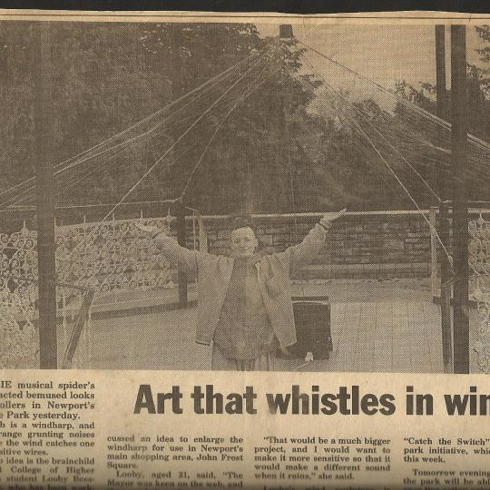Bandstand Harp - newspaper clipping