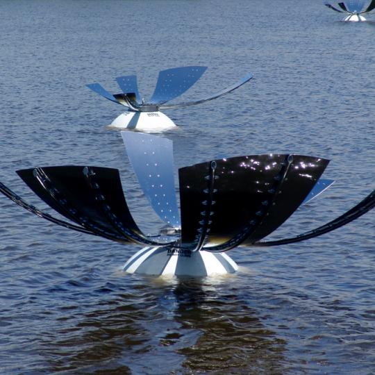 drift, wind activated floating sculpture by davis thomas